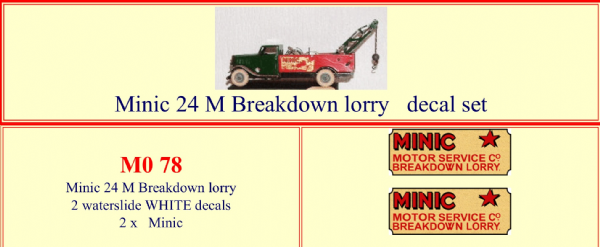 "M078 Tri-ang ( Triang ) Minic 24M  "" MOTOR SERVICE Co "" Breakdown Lorry decal set"